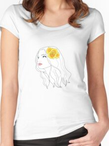 Girl with Rose Women's Fitted Scoop T-Shirt