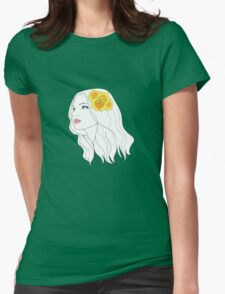 Girl with Rose Womens Fitted T-Shirt
