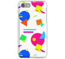 Coloured Retro (Small) Shapes 1980's - White - 80s 80's 1980s 1980's 1980 Classic Throw Back iPhone Case/Skin