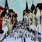 Chester Cityscape Urban Street Contemporary Acrylic Painting On Paper by JamesPeart