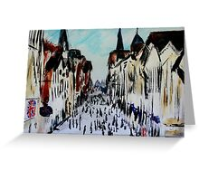Chester Cityscape Urban Street Contemporary Acrylic Painting On Paper Greeting Card