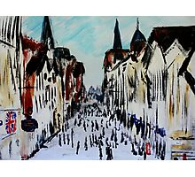 Chester Cityscape Urban Street Contemporary Acrylic Painting On Paper Photographic Print