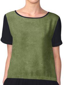 Cedar Green Oil Pastel Color Accent Chiffon Top