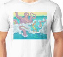 Surfer against kraken print Unisex T-Shirt