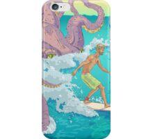Surfer against kraken print iPhone Case/Skin