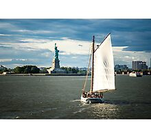 Ship in front of Statue of Liberty, New York Photographic Print