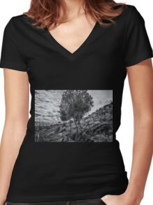 Monochrome Tree Women's Fitted V-Neck T-Shirt