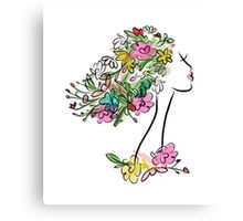 Floral spring woman Canvas Print