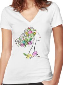 Floral spring woman Women's Fitted V-Neck T-Shirt