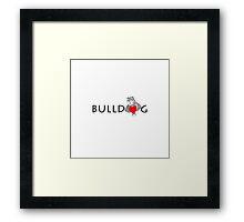Funny Bulldog Cartoon Love Red Heart  Framed Print