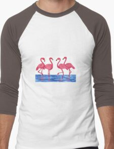 Pink Flamingos Men's Baseball ¾ T-Shirt