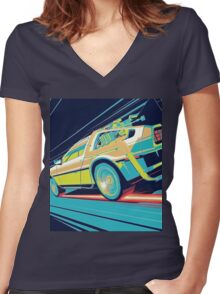 DeLorean- Back to the Future Women's Fitted V-Neck T-Shirt