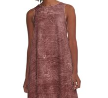 Marsala Oil Painting Color Accent A-Line Dress