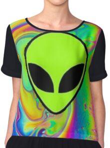 Alien Rainbow Holographic Chiffon Top