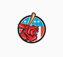Bulldog Baseball Batting USA Circle Cartoon Unisex T-Shirt