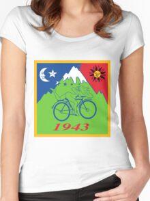 Hofmann's Bike Ride T-shirt Print Women's Fitted Scoop T-Shirt
