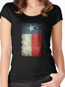 Flag of Texas in vintage retro style Women's Fitted Scoop T-Shirt