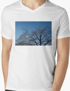 Ice Storm 2013 - Brilliant, Icy Blue Tree Branches Mens V-Neck T-Shirt