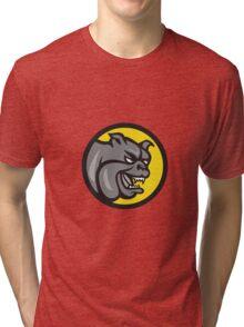 Angry Bulldog Head Circle Cartoon Tri-blend T-Shirt