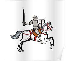 Knight Steed Wielding Sword Cartoon Poster