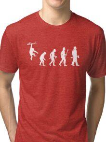Firefighter Funny Evolution Tri-blend T-Shirt