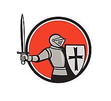 Knight Wielding Sword Circle Cartoon Photographic Print