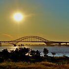 Summer Sunset Over Robert Moses Beach Bridge by Gilda Axelrod