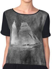 Grunge Style Sailing boat Chiffon Top