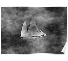 Grunge Style Sailing boat Poster