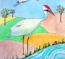 Whooping Crane by JoAnnFineArt
