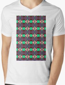 PATTERNATION| AQUA AND PURPLE CROSSES| RB EXCLUSIVE Mens V-Neck T-Shirt
