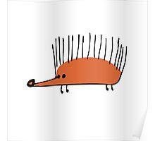 Funny orange hedgehog Poster