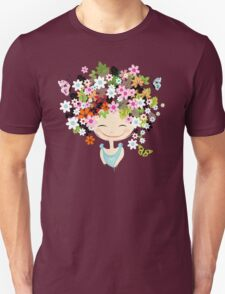 Cute girl with floral hairstyle Unisex T-Shirt