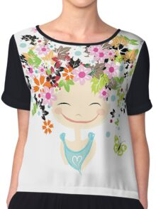 Cute girl with floral hairstyle Chiffon Top