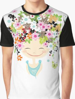 Cute girl with floral hairstyle Graphic T-Shirt