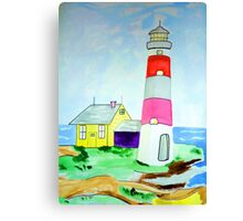 Lighthouse and adjacent house for the keeper's family Canvas Print