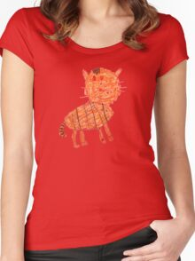Funny orange cat, childish style Women's Fitted Scoop T-Shirt