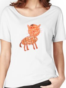 Funny orange cat, childish style Women's Relaxed Fit T-Shirt