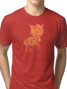 Funny orange cat, childish style Tri-blend T-Shirt