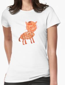 Funny orange cat, childish style Womens Fitted T-Shirt