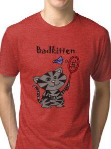 Cool Fun Grey Kitten Playing Badminton Tri-blend T-Shirt
