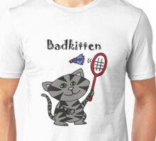 Cool Fun Grey Kitten Playing Badminton Unisex T-Shirt