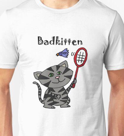 Cool Fun Grey Kitten Playing Badminton Unisex T-Shirt