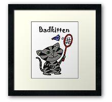 Cool Fun Grey Kitten Playing Badminton Framed Print