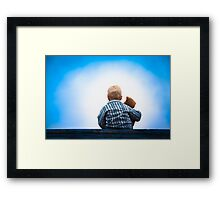 Child and Teddy at the Roof - Childhood Friendship Framed Print