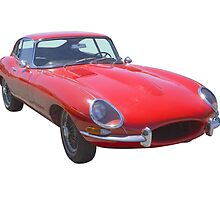 Red 1964 Jaguar XKE Antique Sportscar by KWJphotoart