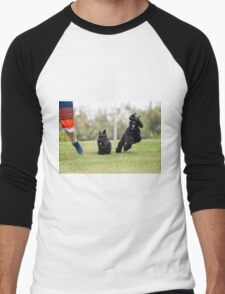 A boy (left) runs in a park with a Scottish Terrier (centre) and a black miniature poodle (right) Men's Baseball ¾ T-Shirt