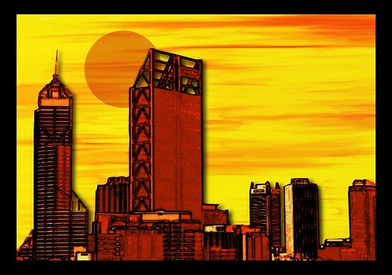 Mixed Media Perth Sunset by Auslandesign
