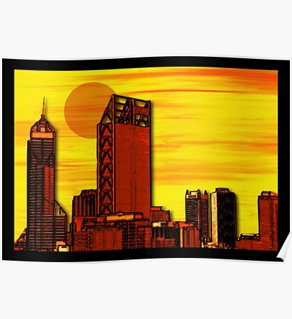 Mixed Media Perth Sunset Poster