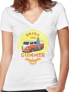 Surf And Enjoy The Summer Women's Fitted V-Neck T-Shirt